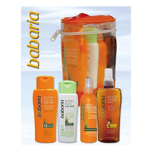 Pack Babaria Neceser: Aceite + Leche Solar + Protector Capilar + After Sun